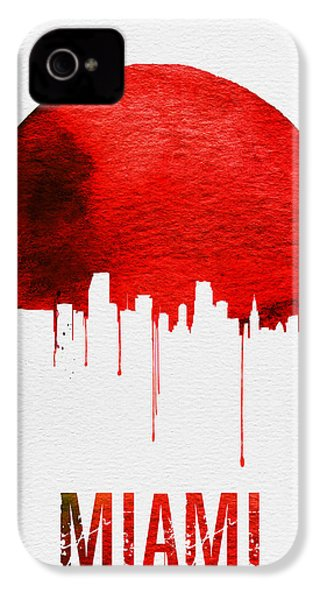 Miami Skyline Red IPhone 4 Case by Naxart Studio