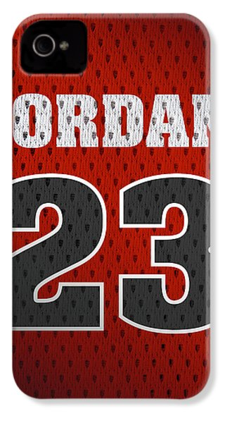 Michael Jordan Chicago Bulls Retro Vintage Jersey Closeup Graphic Design IPhone 4 Case by Design Turnpike