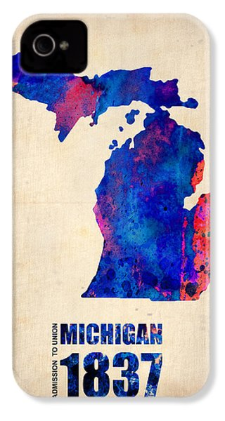 Michigan Watercolor Map IPhone 4 Case by Naxart Studio