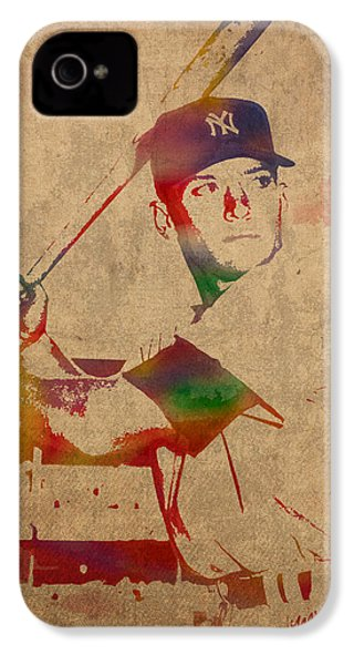 Mickey Mantle New York Yankees Baseball Player Watercolor Portrait On Distressed Worn Canvas IPhone 4 Case by Design Turnpike