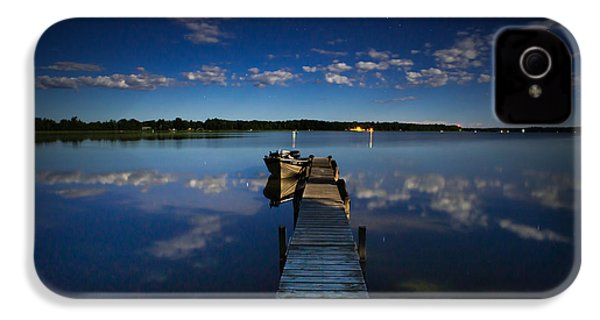 Midnight At Shady Shore On Moose Lake Minnesota IPhone 4 / 4s Case by Alex Blondeau