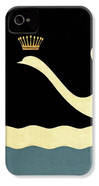 Minimalist Swan Queen Flying Crowned Swan IPhone 4 Case by Tina Lavoie