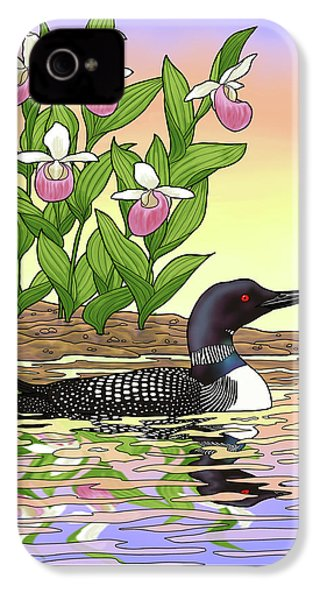 Minnesota State Bird Loon And Flower Ladyslipper IPhone 4 / 4s Case by Crista Forest