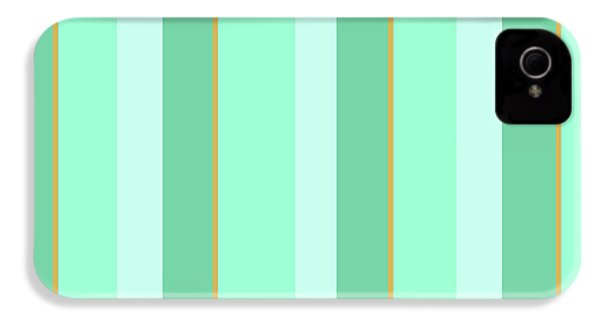 IPhone 4 Case featuring the mixed media Mint Green Stripe Pattern by Christina Rollo