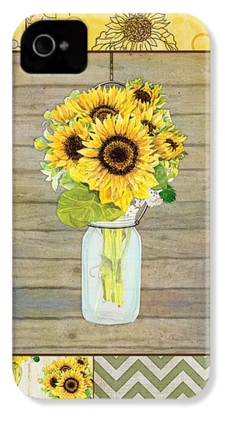 Modern Rustic Country Sunflowers In Mason Jar IPhone 4 / 4s Case by Audrey Jeanne Roberts