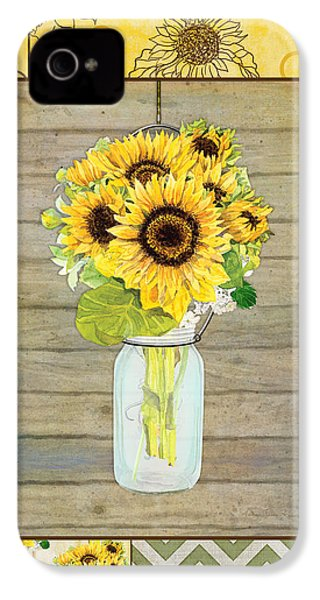 Modern Rustic Country Sunflowers In Mason Jar IPhone 4 Case by Audrey Jeanne Roberts
