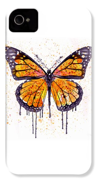 Monarch Butterfly Watercolor IPhone 4 Case by Marian Voicu