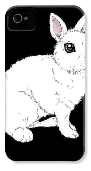 Monochrome Rabbit IPhone 4 Case by Katrina Davis