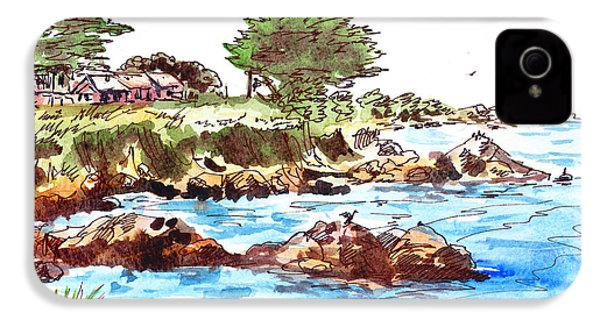 IPhone 4 Case featuring the painting Monterey Shore by Irina Sztukowski