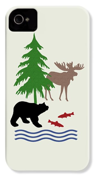 Moose And Bear Pattern Art IPhone 4 Case by Christina Rollo