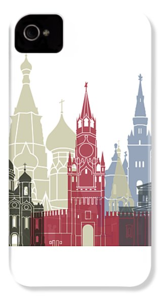 Moscow Skyline Poster IPhone 4 Case by Pablo Romero