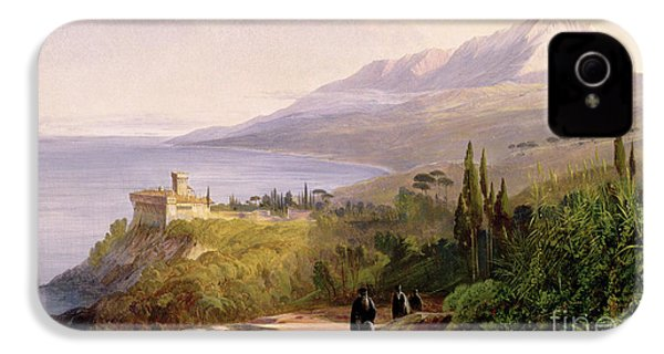 Mount Athos And The Monastery Of Stavroniketes IPhone 4 / 4s Case by Edward Lear