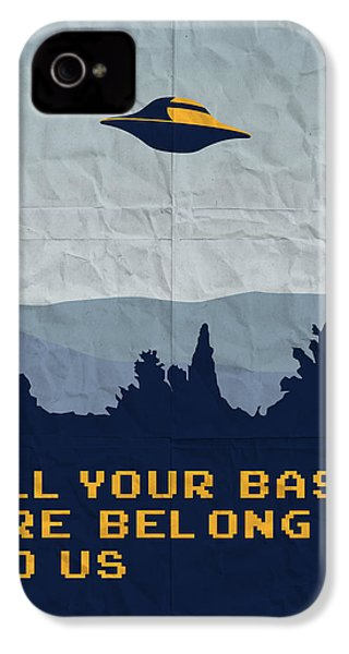 My All Your Base Are Belong To Us Meets X-files I Want To Believe Poster  IPhone 4 Case by Chungkong Art
