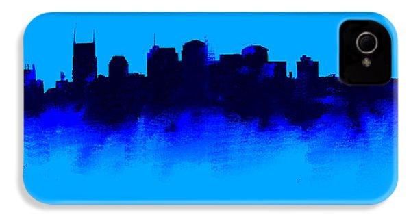 Nashville  Skyline Blue  IPhone 4 Case by Enki Art