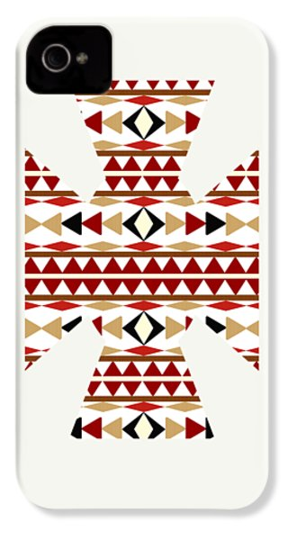 Navajo White Pattern Art IPhone 4 / 4s Case by Christina Rollo