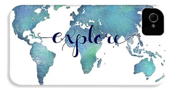 Navy And Teal Explore World Map IPhone 4 Case by Michelle Eshleman