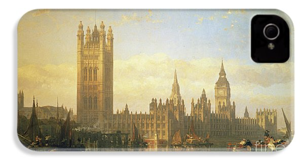 New Palace Of Westminster From The River Thames IPhone 4 Case by David Roberts