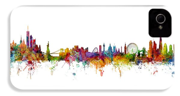 New York And London Skyline Mashup IPhone 4 Case by Michael Tompsett