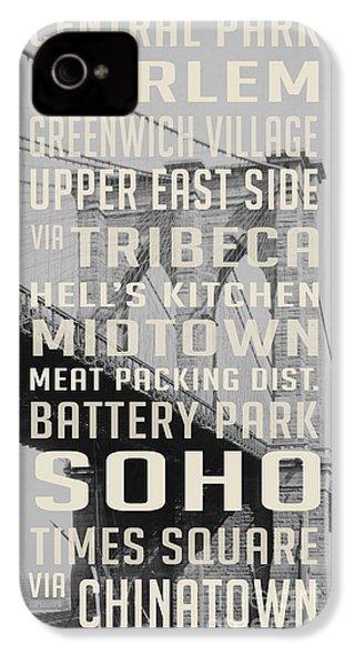 New York City Subway Stops Vintage Brooklyn Bridge IPhone 4 / 4s Case by Edward Fielding
