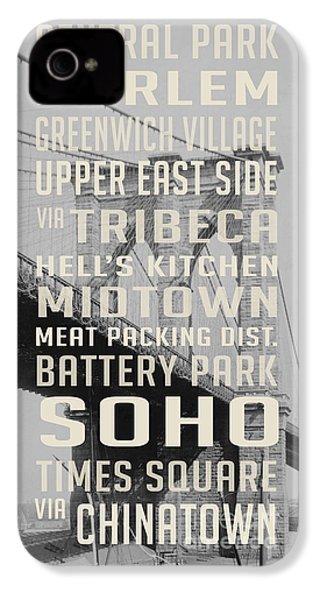 New York City Subway Stops Vintage Brooklyn Bridge IPhone 4 Case by Edward Fielding