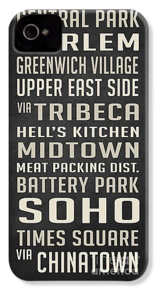 New York City Subway Stops Vintage IPhone 4 Case by Edward Fielding