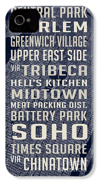 New York City Vintage Subway Stops With Map IPhone 4 Case by Edward Fielding