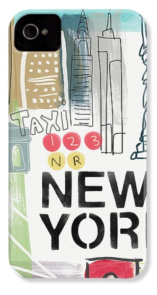New York Cityscape- Art By Linda Woods IPhone 4 Case by Linda Woods
