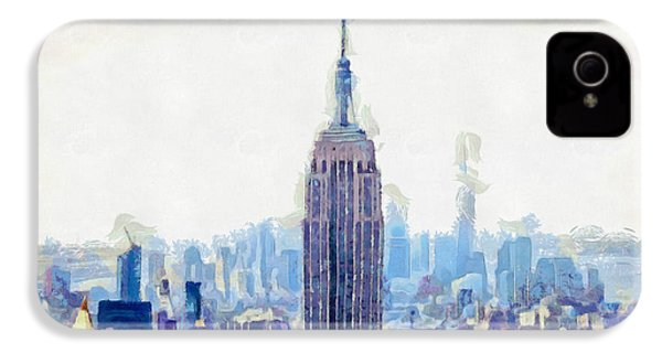 New York Skyline Art- Mixed Media Painting IPhone 4 Case by Wall Art Prints
