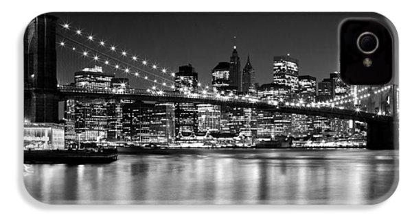 Night Skyline Manhattan Brooklyn Bridge Bw IPhone 4 / 4s Case by Melanie Viola