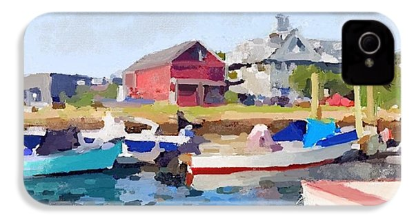 North Shore Art Association At Pirates Lane On Reed's Wharf From Beacon Marine Basin IPhone 4 Case by Melissa Abbott