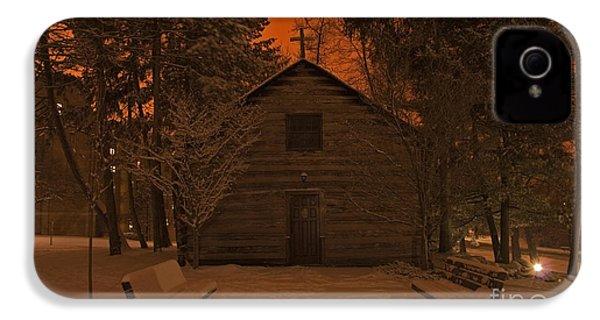 Notre Dame Log Chapel Winter Night IPhone 4 Case by John Stephens