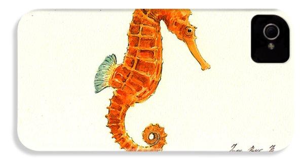 Orange Seahorse IPhone 4 / 4s Case by Juan Bosco