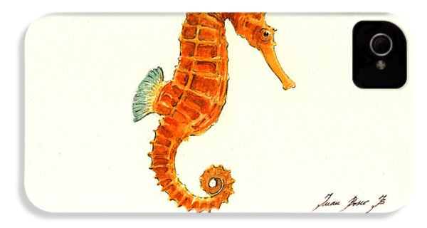 Orange Seahorse IPhone 4 Case by Juan Bosco