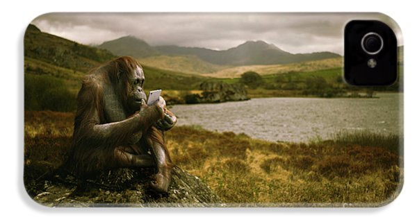Orangutan With Smart Phone IPhone 4 / 4s Case by Amanda Elwell