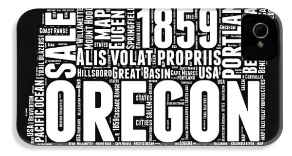 Oregon Black And White Map IPhone 4 / 4s Case by Naxart Studio