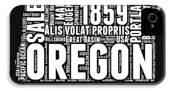 Oregon Black And White Map IPhone 4 Case by Naxart Studio