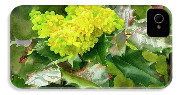 Oregon Grape Blossoms With Leaves IPhone 4 Case by Sharon Freeman