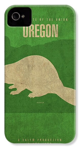 Oregon State Facts Minimalist Movie Poster Art IPhone 4 Case by Design Turnpike