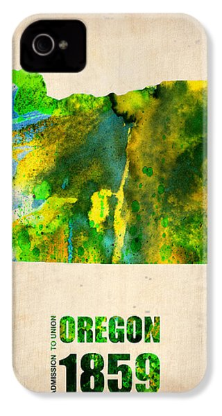 Oregon Watercolor Map IPhone 4 Case by Naxart Studio