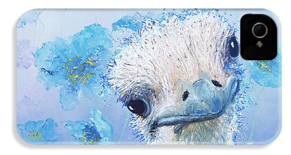 Ostrich In A Field Of Poppies IPhone 4 Case by Jan Matson
