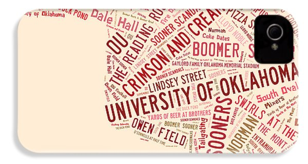 Ou Word Art University Of Oklahoma IPhone 4 / 4s Case by Roberta Peake