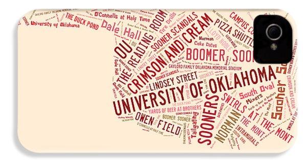 Ou Word Art University Of Oklahoma IPhone 4 Case by Roberta Peake
