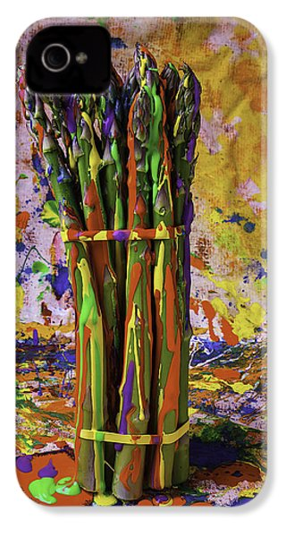 Painted Asparagus IPhone 4 Case by Garry Gay