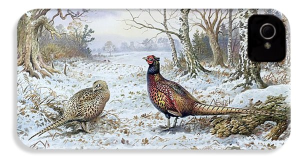Pair Of Pheasants With A Wren IPhone 4 Case by Carl Donner