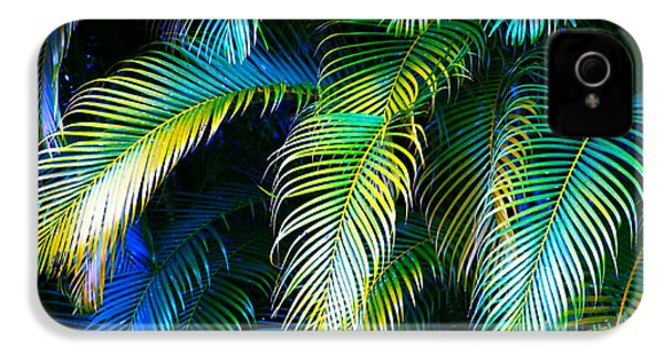 Palm Leaves In Blue IPhone 4 Case