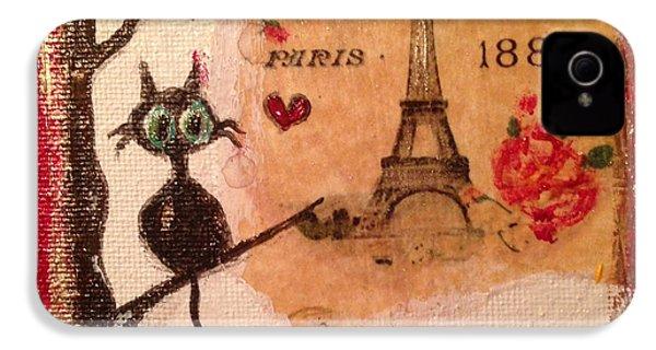 Paris Cat  IPhone 4 Case by Roxy Rich
