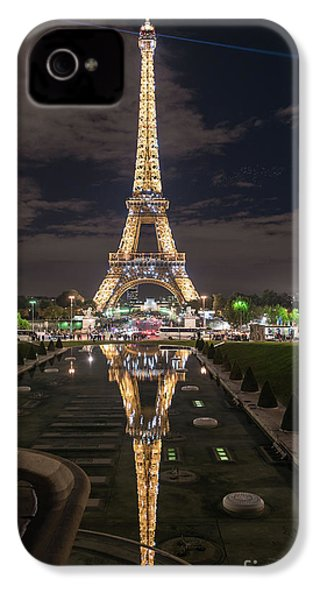 Paris Eiffel Tower Dazzling At Night IPhone 4 Case by Mike Reid