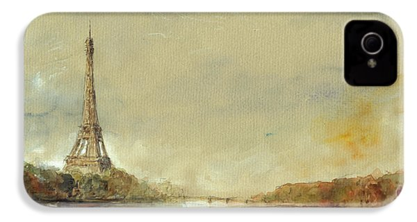 Paris Eiffel Tower Painting IPhone 4 Case by Juan  Bosco