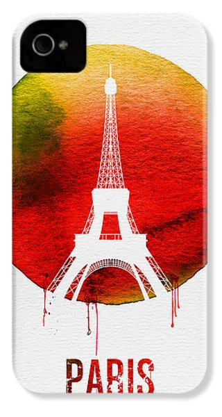 Paris Landmark Red IPhone 4 Case by Naxart Studio