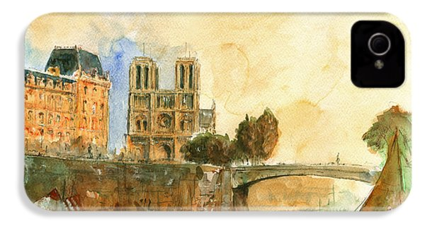 Paris Watercolor IPhone 4 / 4s Case by Juan  Bosco